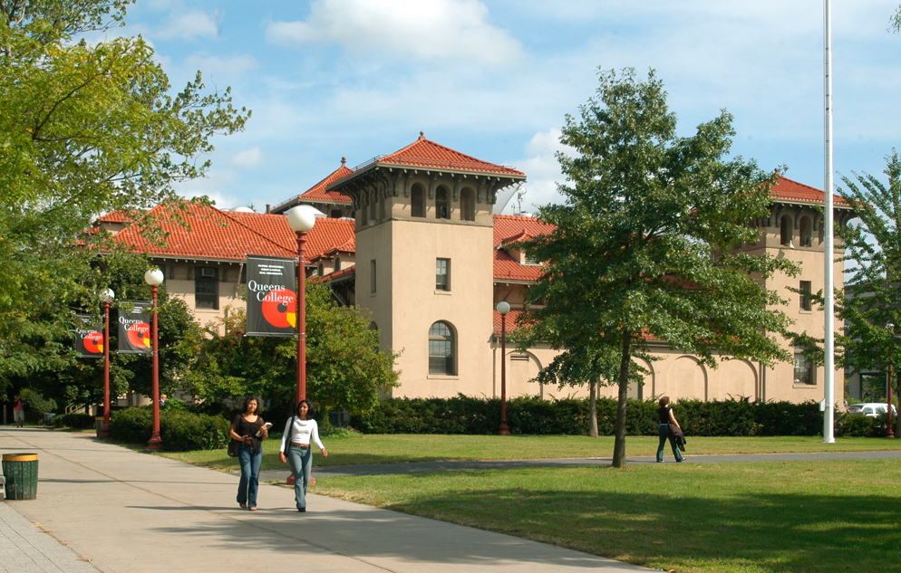 Female students walking on the Queens College campus