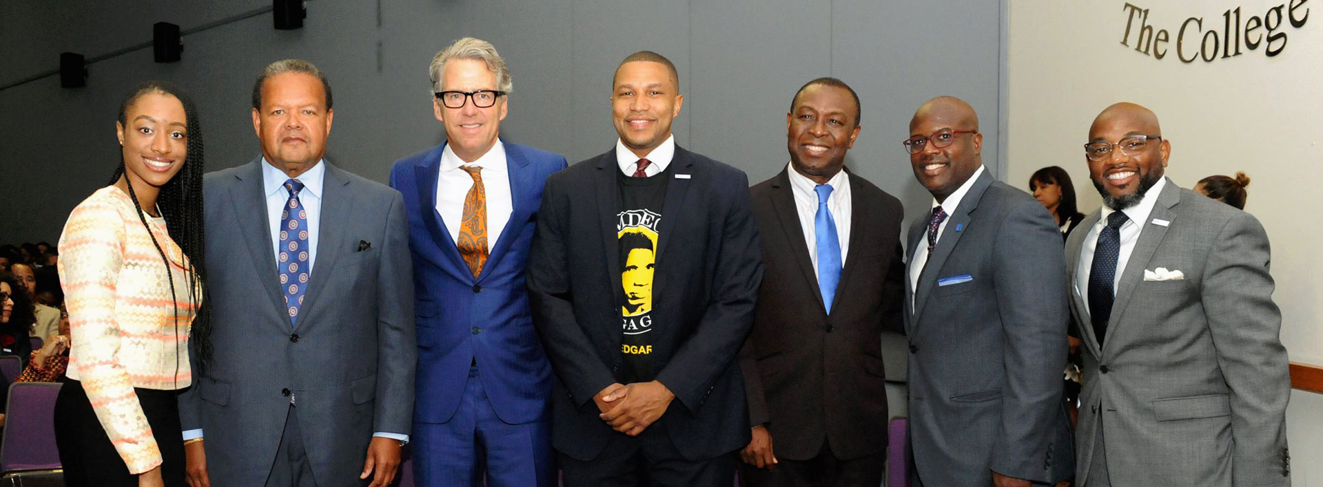 CUNY Black Mail Initiative (BMI) including Medgar Evers President Rudy Crew (second from l) and CUNY Chancellor James B. Milliken (third from left)