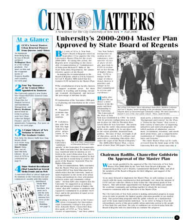 CUNY Matters Fall 2000 cover