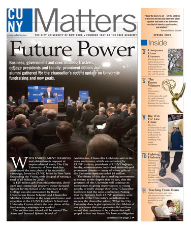 CUNY Matters May 2009 cover