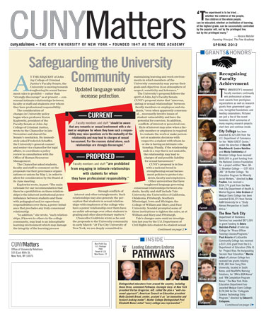 CUNY Matters Spring 2012 cover