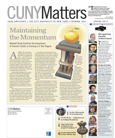 CUNY Matters Spring 2014 cover