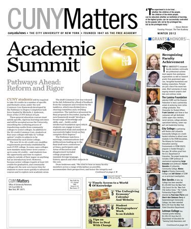 CUNY Matters Winter 2012 cover