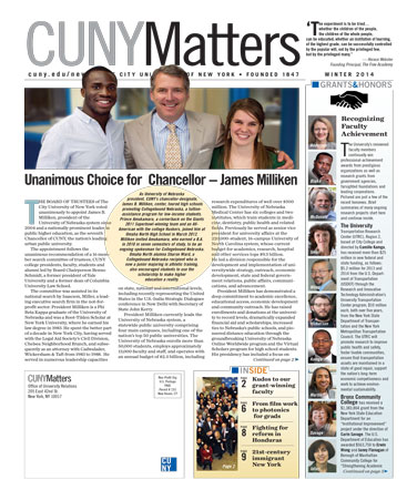 CUNY Matters Winter 2014 cover