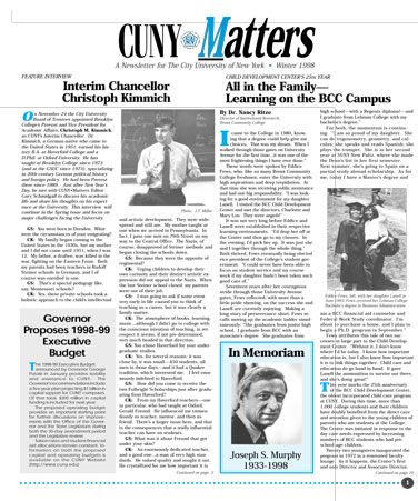 CUNY Matters Winter 1998 cover