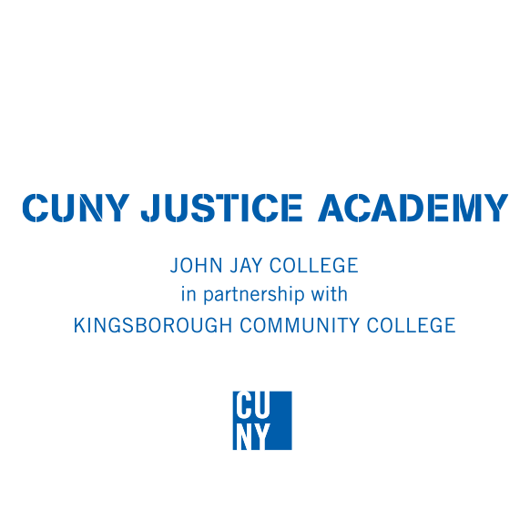 CUNY Justice Academy Logo, in partnership with KINGSBOROUGH COMMUNITY COLLEGE (KCC)