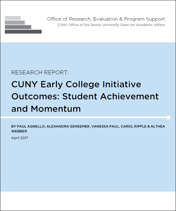 Cover page of the CUNY Early College Initiative Report