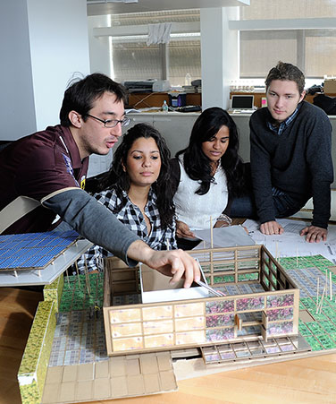 Spitzer School of Architecture students with model