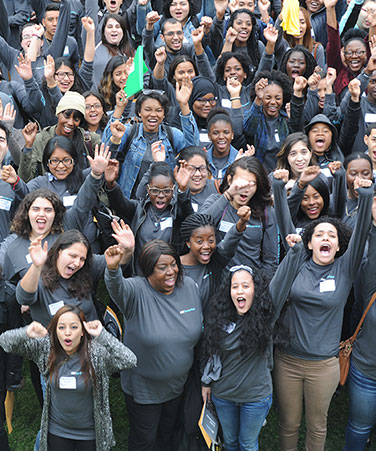 CUNY Service Corps students in t-shirts with Service Corps logo