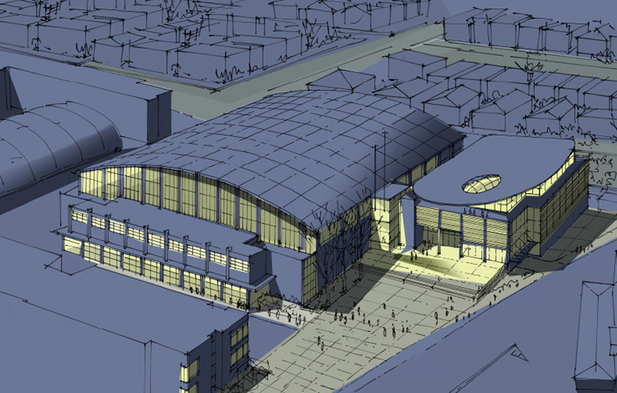 Rendering of Queens College Fitzgerald Gymnasium