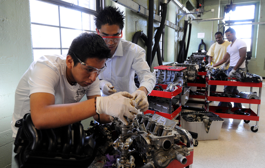 Automotive Technology students Lucio Cacharani and Sithar Say, Bronx Community College