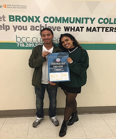 Bronx Community College students at voter registration event