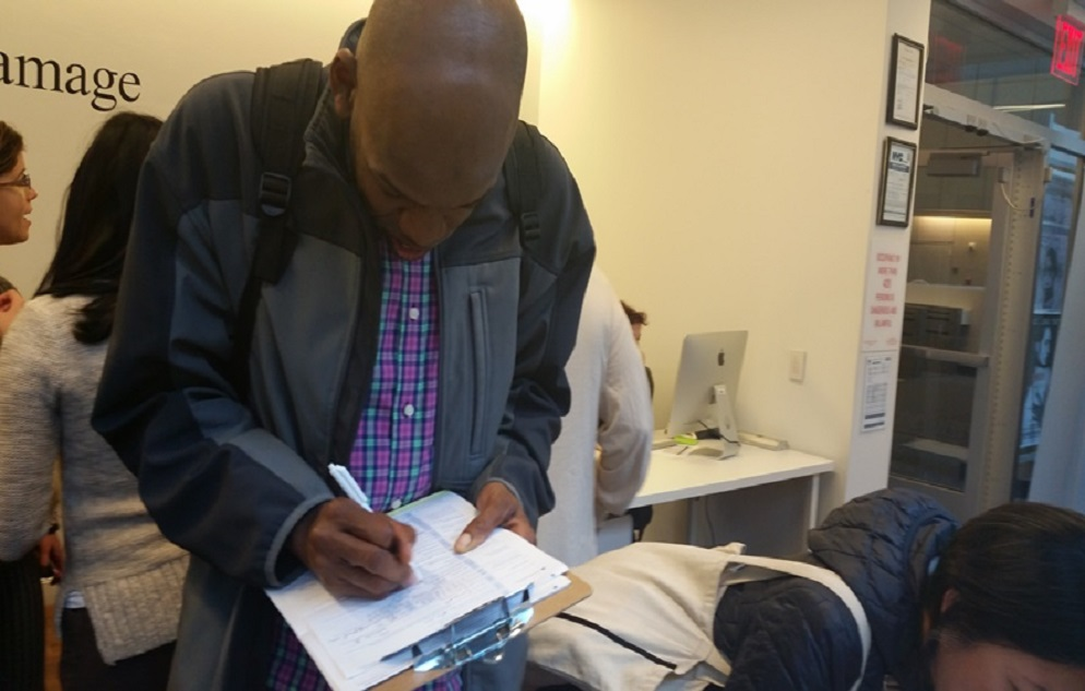 Man registering to vote