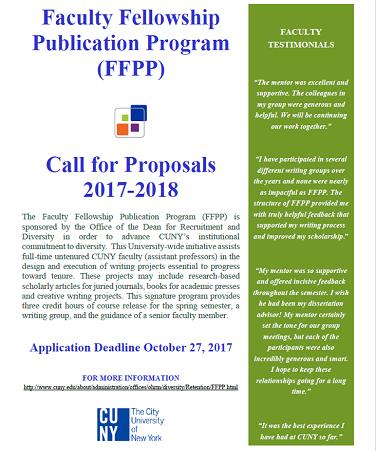 flyer for Faculty Fellowship Publication Program