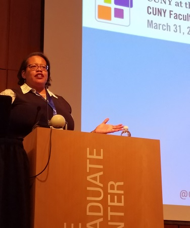 Speaker Calle Waite, part of the midday panel, at the Faculty Diversity and Inclusion Conference