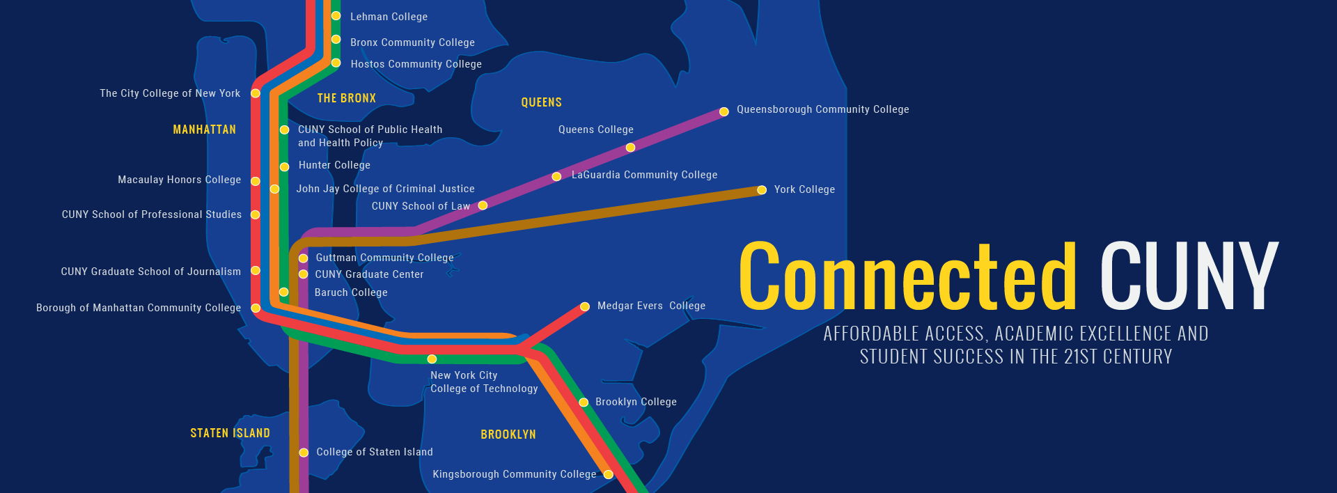 Connected CUNY in the 21st century campus map/locator graphic