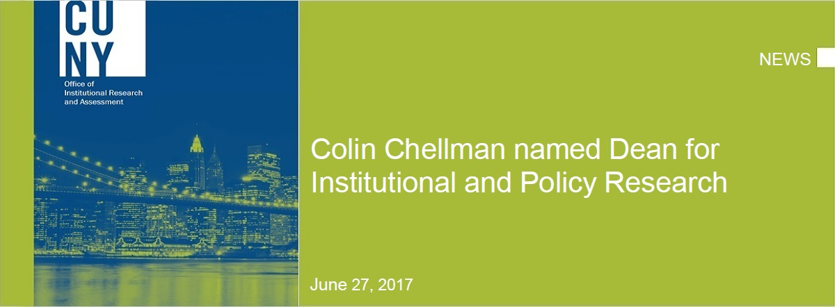 Dean Colin Chellman named Dean for Insitutional and Policy Research graphic