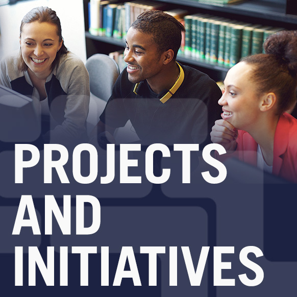 PROJECTS AND AND INITIATIVES graphic for CUNY Tech Consortium