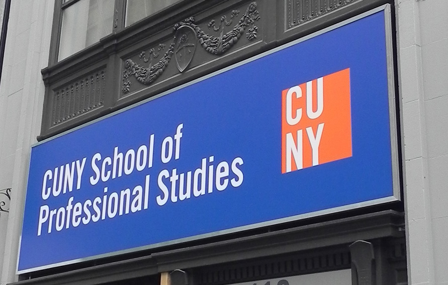 School of Professional Studies logo over street entrance