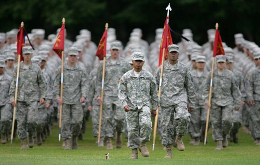 Army ROTC members Marching