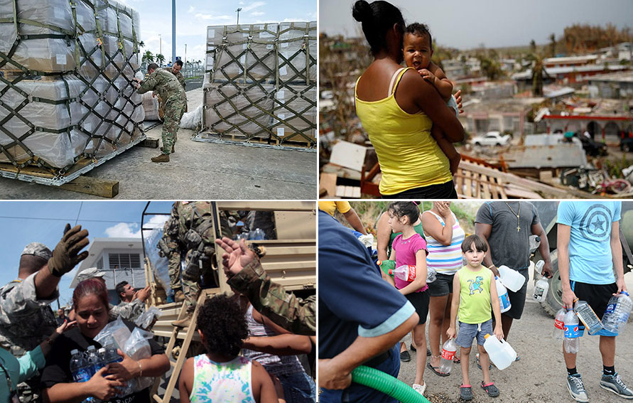 Relief Efforts for Puerto Rico collage, Hurriance Maria