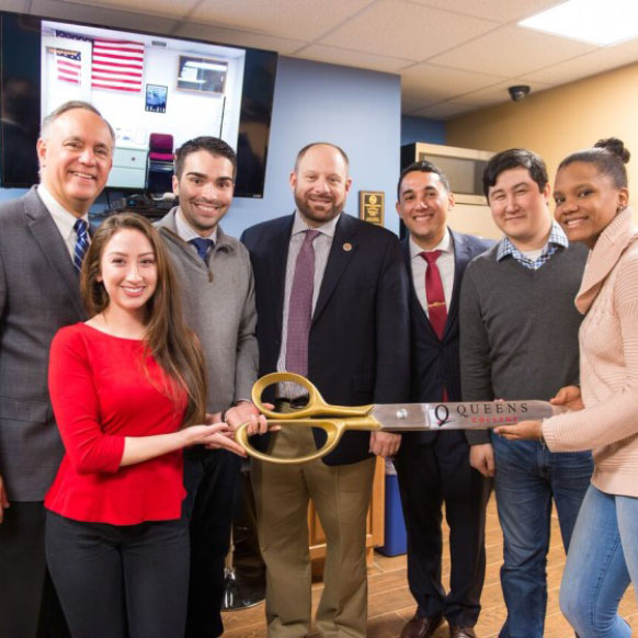 Ribbon cutting for renovated space for Veterans Club at Queens College