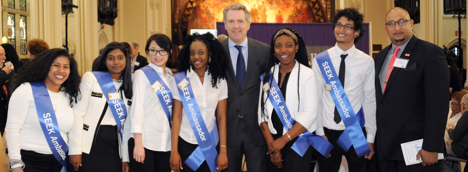 CUNY SEEK (Search for Education, Elevation, and Knowledge) 50th Anniversary Awards Program, Shepard Hall, City College of New York. In photo, Chancellor James B. Milliken (c) and SEEK alumnus Henry Garrido (r) appear with SEEK Ambassadors.