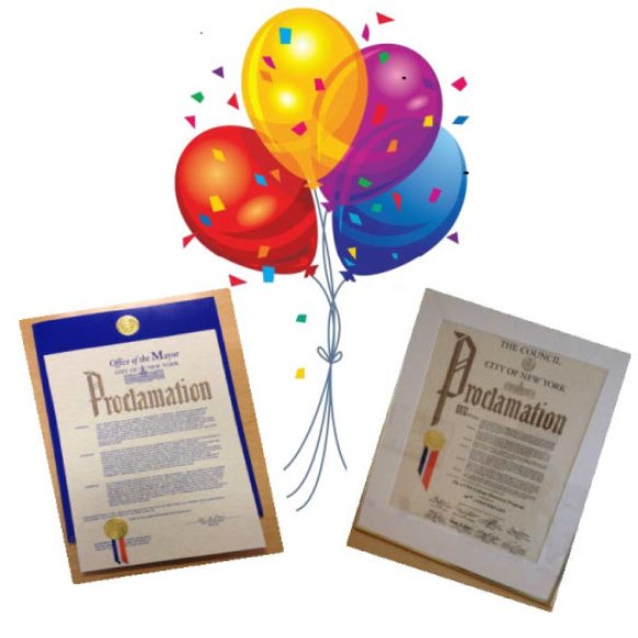 SOAR Newsletter graphic with balloons and Proclamations from the Office of the Mayor