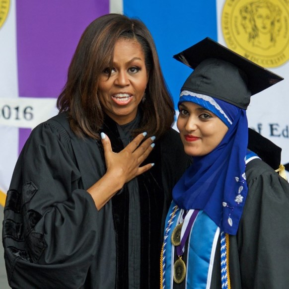 First Lady Michelle Obama and Salutatorian Orubba Almansouri at the 2016 CCNY graduation