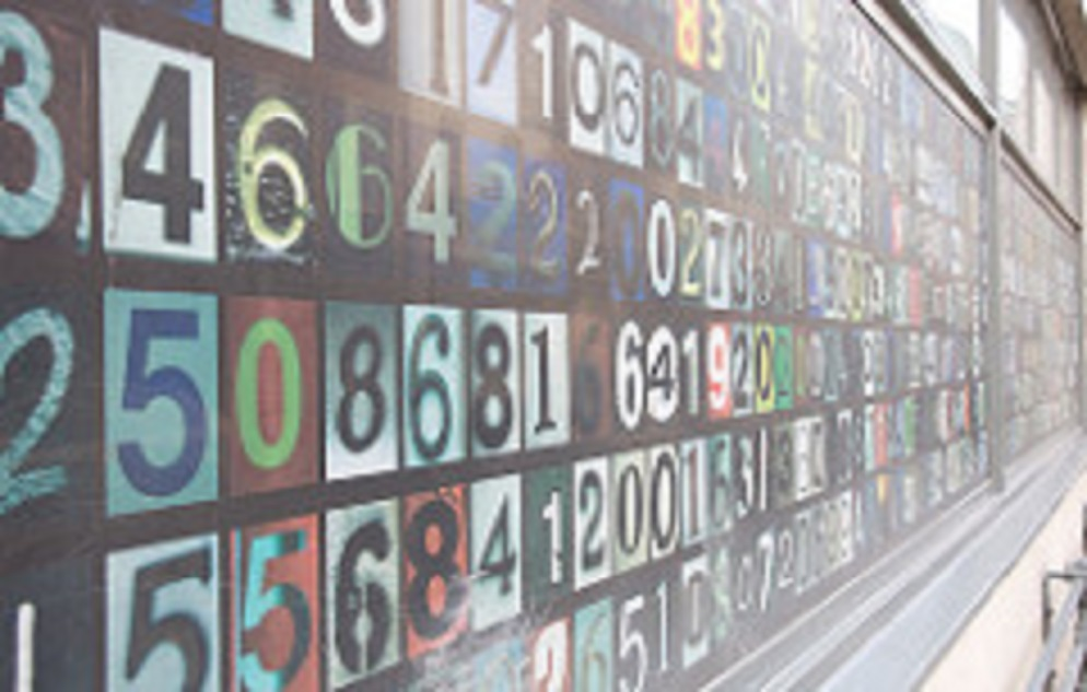 numbers on a wall display