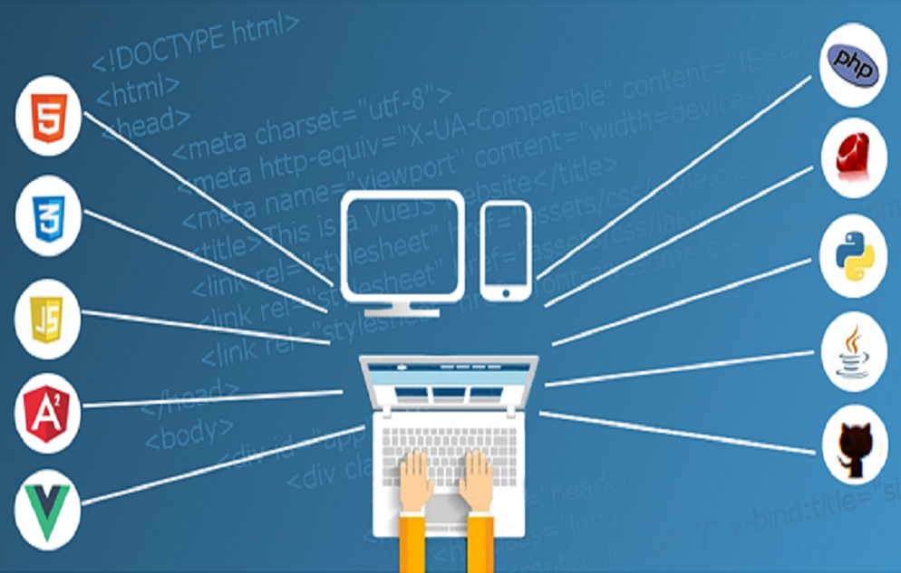 illustration of a person operating a computer keyboard