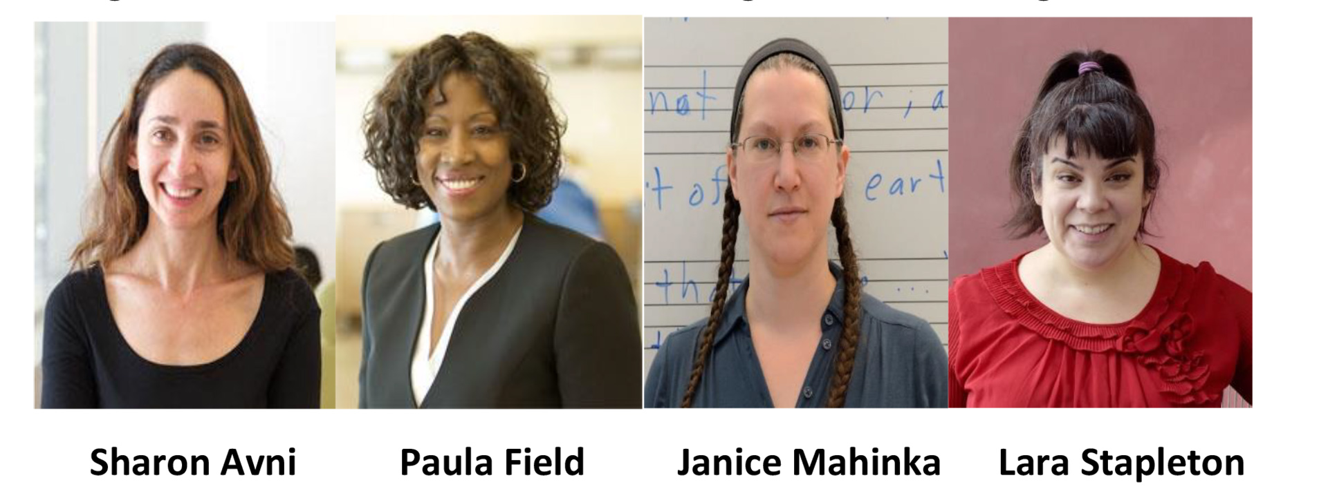 BMCC Distinguished Teaching Awardees for 2018, Sharon Avni, Paula Field, janiece Mahinka and Lara Stapleton