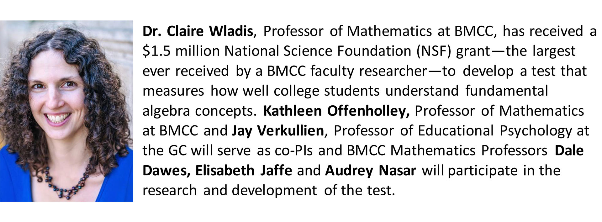 Dr. Clair Waldis, Professor of Mathematics, Borough of Manhattan Community College bio