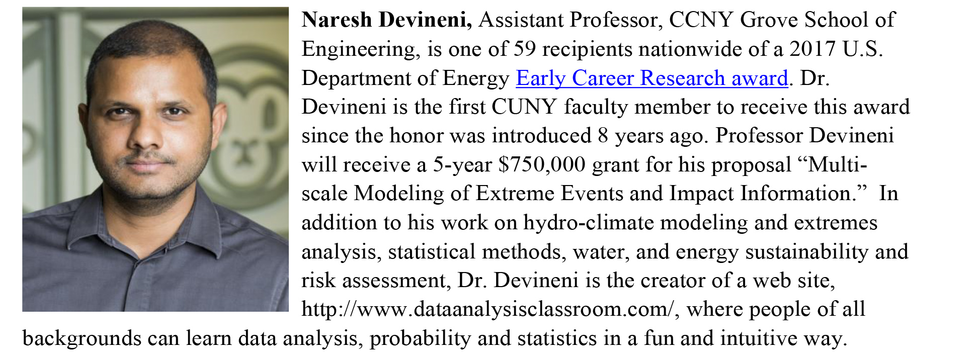 Naresh Devineni, Assistant Professor, CCNY Grove School of Engineering