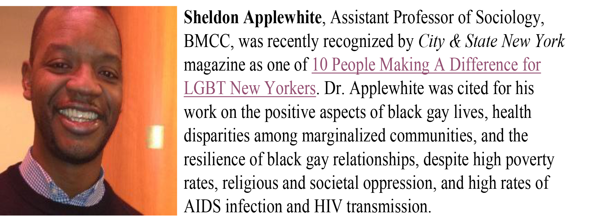 Assistant Professor, Sheldon Applewihte, Borough of Manhattan Community College