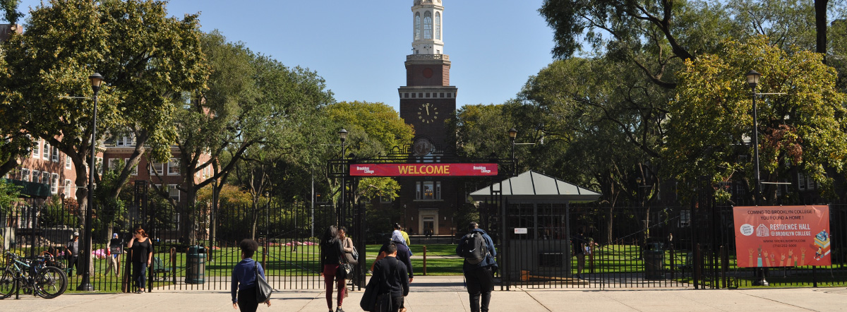 Welcome banner, Brooklyn College campus