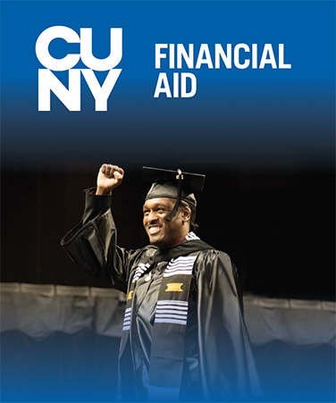 2016 Medgar Evers student at graduation for CUNY Financial aid brochure