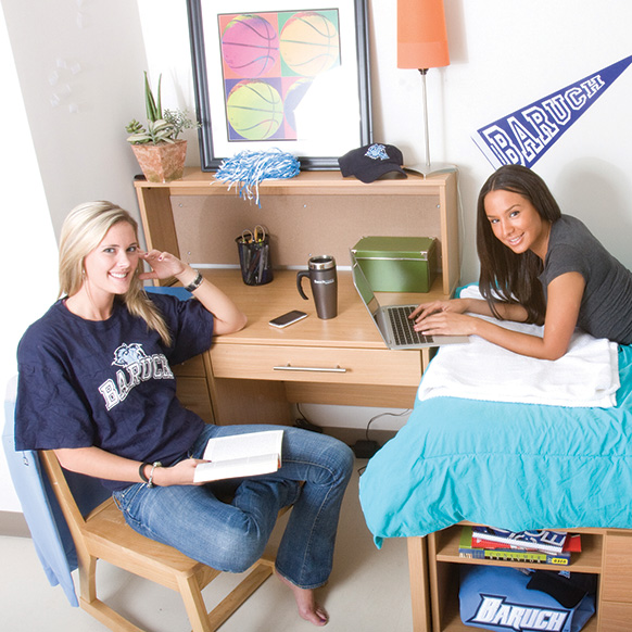 Baruch College students in a dorm room