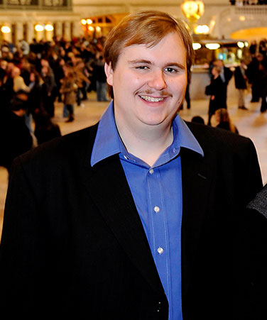 City College of New York alumnus (2009) David Bauer was a Rhodes Scholar, seen here in Grand Central Station
