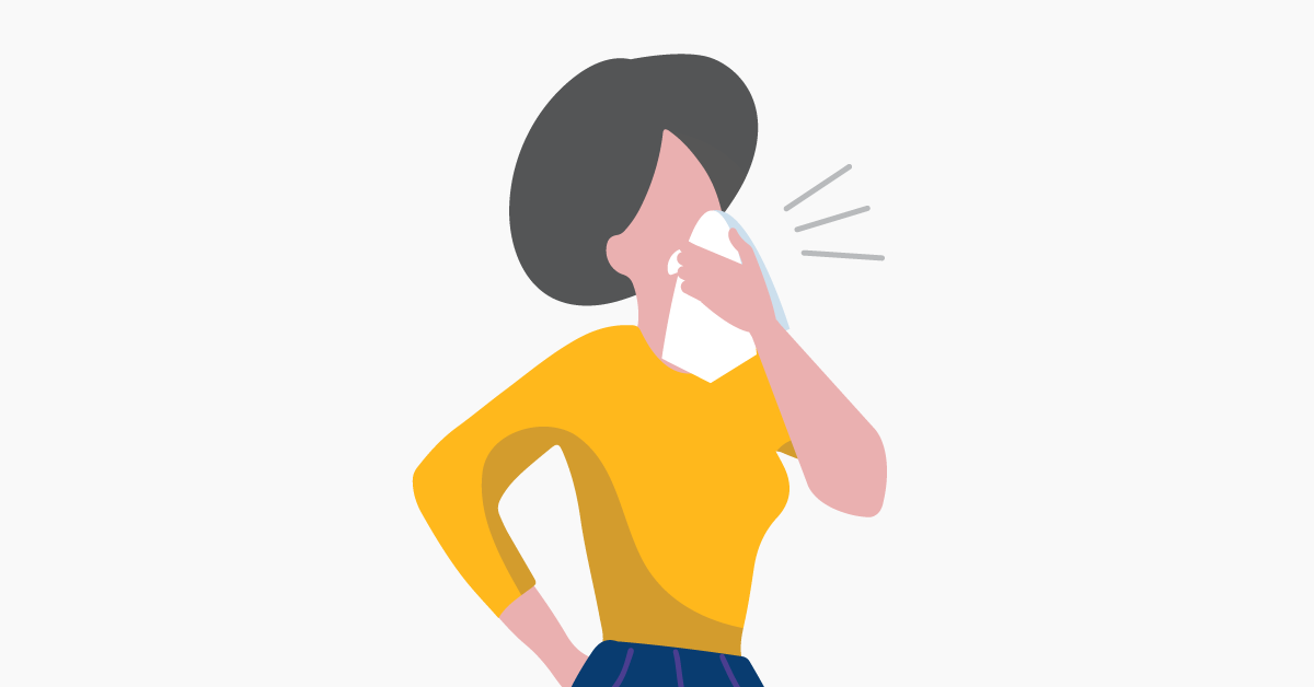woman sneezing illustration