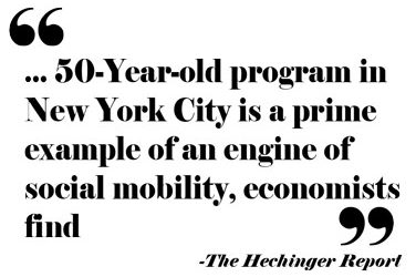 quote for Hechinger report: 50 Year old program in New York City is an engine of social mobility, economist find