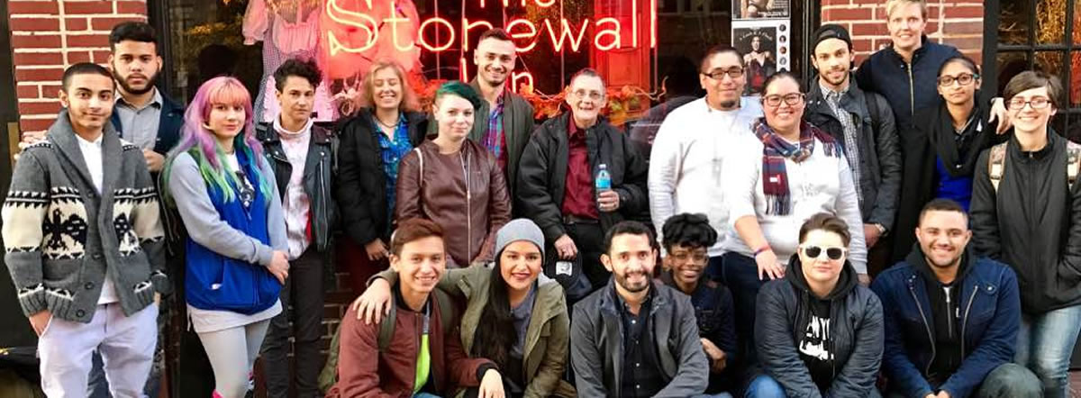 CUNY LGBTQ students at the Stonewall Inn in Greenwich Village