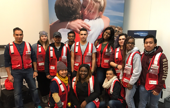 Malave Leadership Academy students with Red Cross staff
