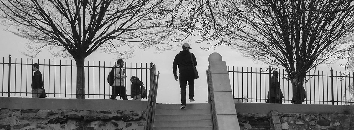 Steps Home, December 2012 Student Photo Challenge winner, showing stairway at edge of Bronx Community College