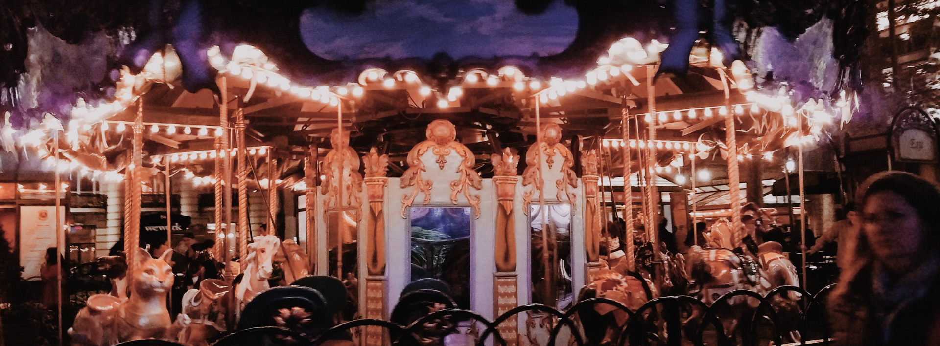 Carousel at night, Elisa Quintana's photo LIGHT SHOW OF CHAOS, the December 2017 1st Place CUNY Photo Challenge winner