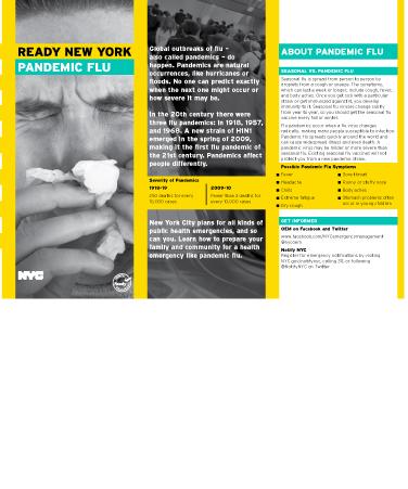 READY NEW YORK PANDEMIC FLU information publicaton
