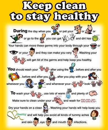 Wash away germs, keep clean and healthy poster