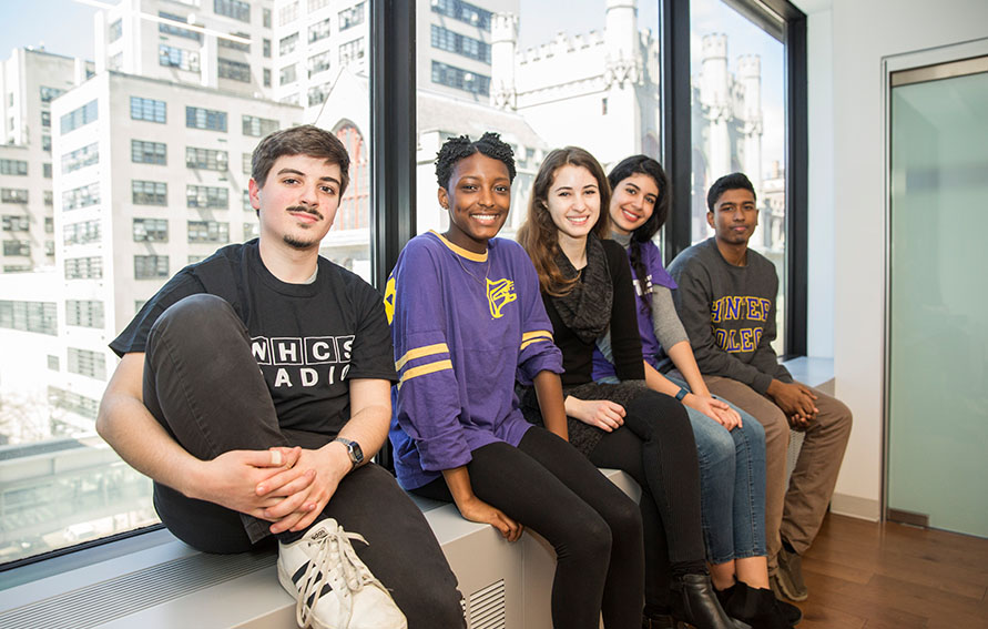 Hunter College students in the skyway over Lexington Avenue