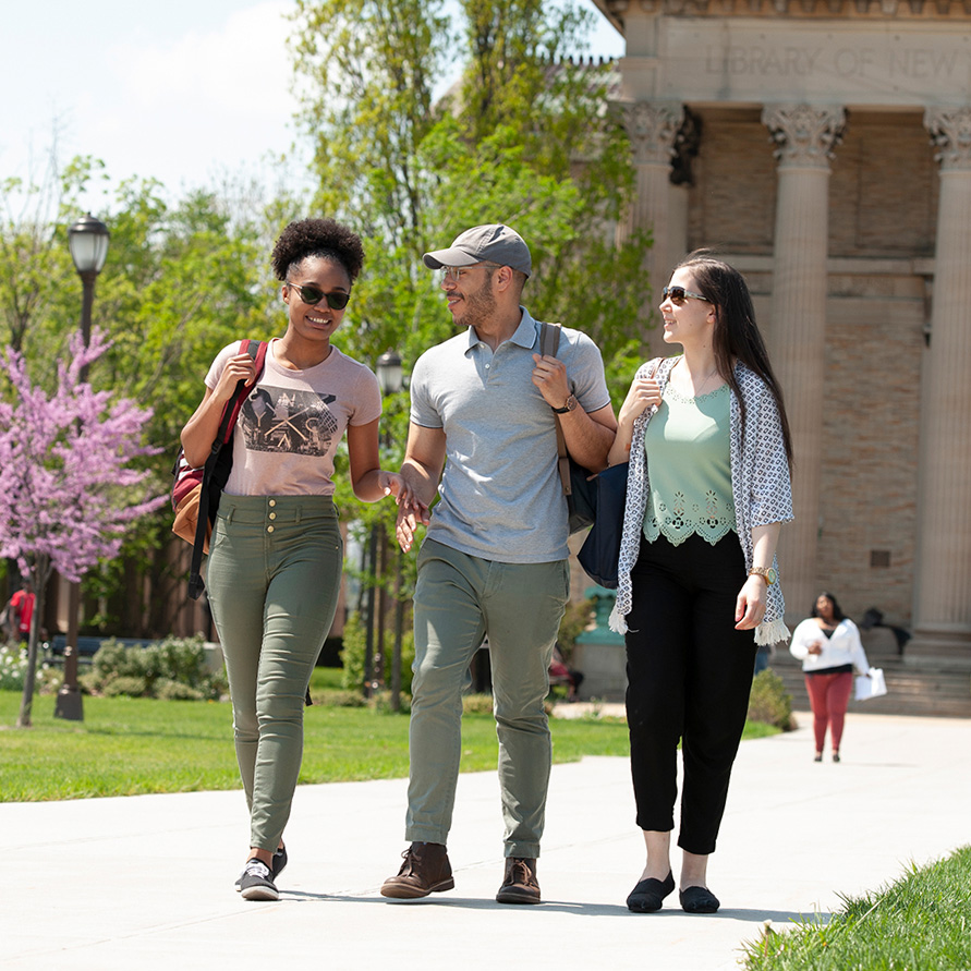 Students walking on the Bronx CC campus