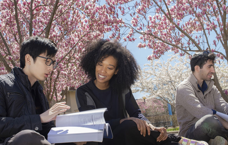 Lehman College students outside on campus